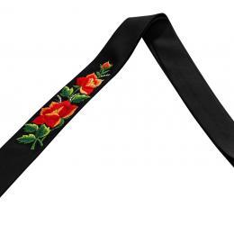 Krawat - śledzik z dwiema haftowanymi czerwonymi różami