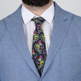 Krawat - koguty łowickie