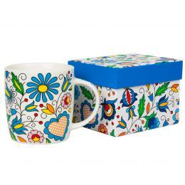 FOLK kubek w pudełku Hania - ludowe kwiaty z kaszubskich haftów