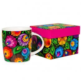 FOLK kubek w pudełku Hania – ludowe kwiaty z łowickiej wycinanki – czarny