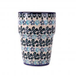 Kubek barowy - ceramika Bolesławiec - kwiecista rozeta