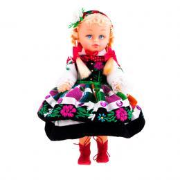 Lalka ludowa - łowicki strój regionalny | 23 cm