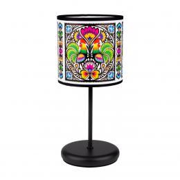 Lampa stojąca FOLK - mała - koguty z łowickiej wycinanki