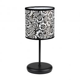 Lampa stojąca FOLK - mała - łowicka biało - czarna