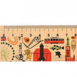 Linijka drewniana - 20 cm - GDAŃSK- symbole