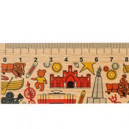 Linijka drewniana - 20 cm - ŁÓDŹ - symbole