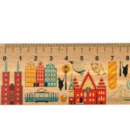 Linijka drewniana - 20 cm - WROCŁAW symbole