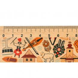 Linijka drewniana - 20 cm - ZAKOPANE symbole