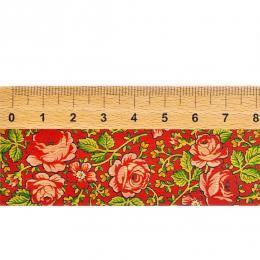 Linijka drewniana FOLK - 20 cm - góralska czerwona