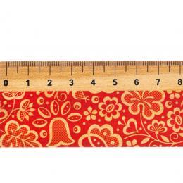 Linijka drewniana FOLK - 20 cm - kujawska czerwona