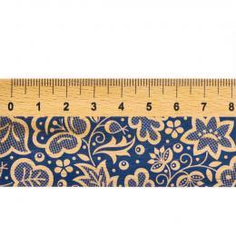Linijka drewniana FOLK - 20 cm - kujawska niebieska