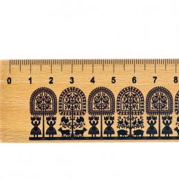 Linijka drewniana FOLK - 20 cm - kurpiowska