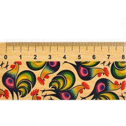 Linijka drewniana FOLK - 20 cm - łowickie koguty