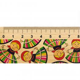 Linijka drewniana FOLK - 20 cm - łowiczanki