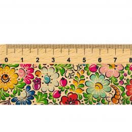 Linijka drewniana FOLK - 20 cm - opolska