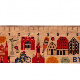 Linijka drewniana - 20 cm - BYDGOSZCZ- symbole