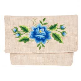 Lniana kopertówka - haft folk - niebieska róża łowicka