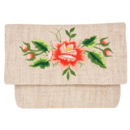 Lniana kopertówka - haft folk - róża łowicka