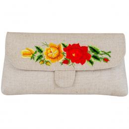 Lniana kopertówka z haftowaną czerwoną i żółtą różą