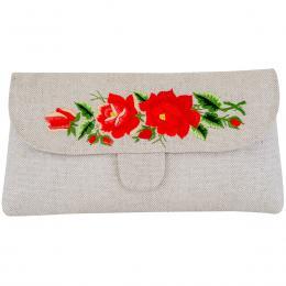 Lniana kopertówka z haftowanymi czerwonymi różami