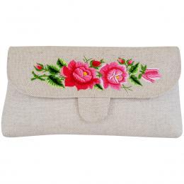 Lniana kopertówka z haftowanymi różowymi różami