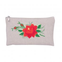Lniana kosmetyczka - haft łowicki - czerwona róża