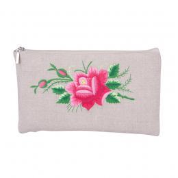 Lniana kosmetyczka - haft łowicki - różowa róża