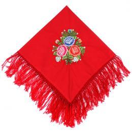 Haftowana chusta bawełniana do łowickiego stroju ludowego - czerwona