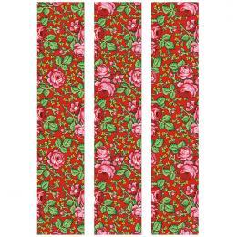 Fototapeta FOLK góralska czerwona 150x250cm - średnie kwiaty