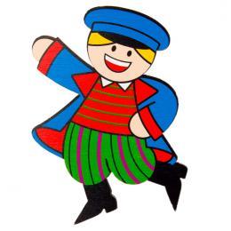 Magnes drewniany folk Sieradzak FOLKO LUDKI - tradycyjny strój ludowy