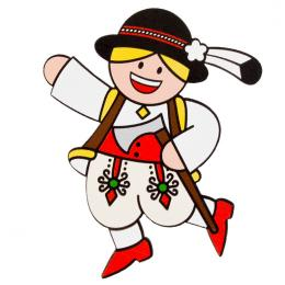 Magnes drewniany folk Góral FOLKO LUDKI - tradycyjny strój ludowy