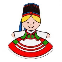 Magnes drewniany folk Kurpianka FOLKO LUDKI - tradycyjny strój ludowy