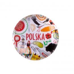 Magnes okrągły szklany - POLSKA symbole