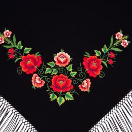 Mała chusta z haftem czerwonych różyczek