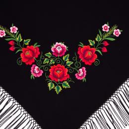 Mała chusta z haftowanymi czerwonymi i różowymi różami łowickimi