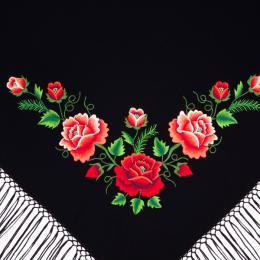 Mała chusta z haftem czerwonych i różowych róż