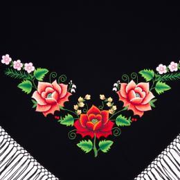 Mała chusta z haftowanymi różami łowickimi