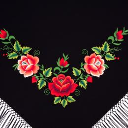 Mała chusta z wzorem haftowanych czerwonych róż łowickich
