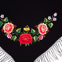 Mała haftowana chusta z wzorem kwiatowym