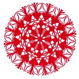 Mała okrągła wycinanka kurpiowska - wzór 12 - czerwona
