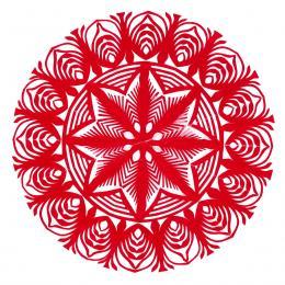 Mała okrągła wycinanka kurpiowska - wzór 13 - czerwona