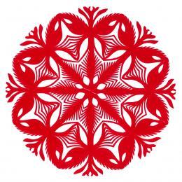 Mała okrągła wycinanka kurpiowska - wzór 14 - czerwona
