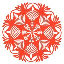 Mała okrągła wycinanka kurpiowska - wzór 15 - jasno czerwona