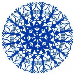 Mała okrągła wycinanka kurpiowska - wzór 16 - niebieska