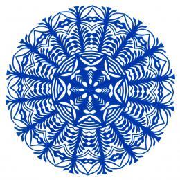 Mała okrągła wycinanka kurpiowska - wzór 17 - niebieska