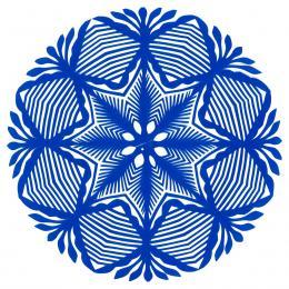 Mała okrągła wycinanka kurpiowska - wzór 18 - niebieska