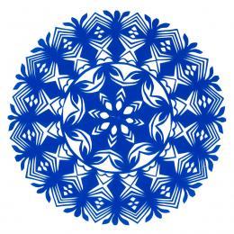 Mała okrągła wycinanka kurpiowska - wzór 19 - niebieska