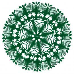 Mała okrągła wycinanka kurpiowska - wzór 10 - zielona