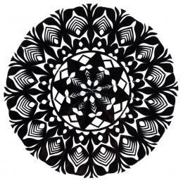 Mała okrągła wycinanka kurpiowska - wzór 3 - czarna