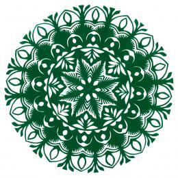 Mała okrągła wycinanka kurpiowska - wzór 6 - zielona